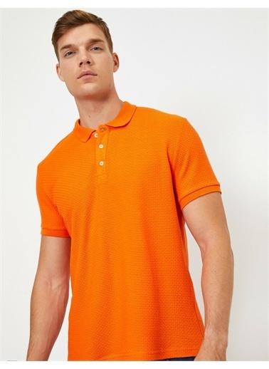 Koton Pamuklu Polo Yaka Tisört Oranj